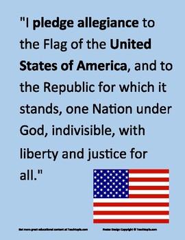 Pledge of Allegiance Poster for morning pledge