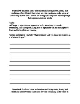 Pledge of Allegiance Task Cards