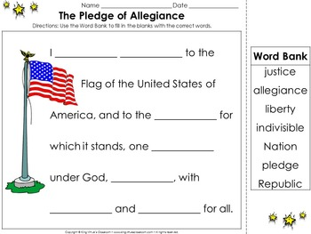Pledge of Allegiance: United States National Pledge to the Flag Cut and Paste