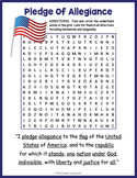 Pledge of Allegiance Activity - Pledge of Allegiance Word Search