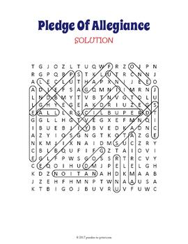 Pledge of Allegiance Activity - Pledge of Allegiance Word Search