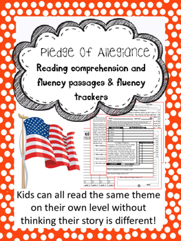 Pledge of Allegiance fluency and comprehension leveled passage