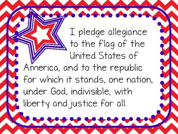 Pledge of Allegiance in English and Spanish (Red Background)