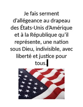 Pledge of Allegiance in French Poster