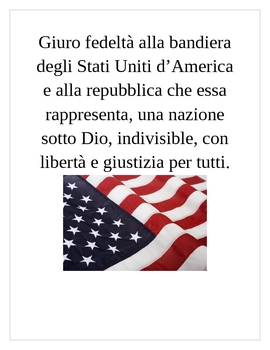 Pledge of Allegiance in Italian Poster