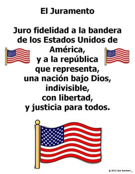 Lively image with pledge of allegiance in spanish printable