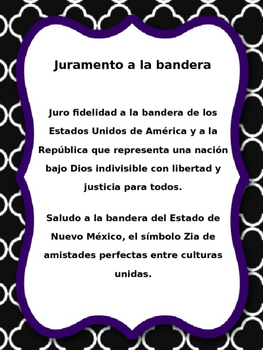Spanish. Juramento a la Bandera. Pledge of Allegiance.