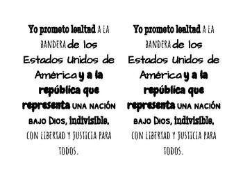 Pledge of Allegiance in Spanish handout