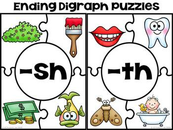 Digraphs, Blends, & Vowel Sound Puzzles