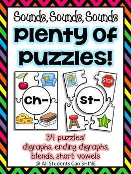 Digraphs, Blends, & Vowel Sound Puzzles