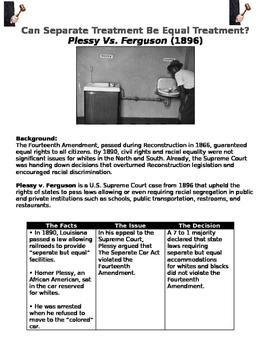 Plessy Vs. Ferguson Separate Treatment Be Equal Treatment? worksheet mini lesson