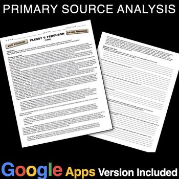 Plessy v. Ferguson Primary Source Activity (Jim Crow)