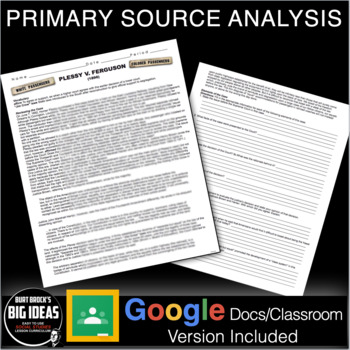 Plessy V Ferguson Primary Source Activity Jim Crow Distance Learning Version