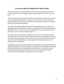 Plessy v. Ferguson Worksheet