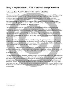 Plessy v. Ferguson/ Brown v. Board of Education primary source analysis activity