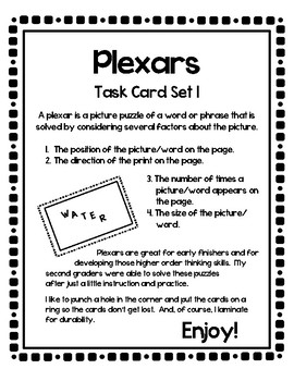 Plexar Higher Order Thinking Puzzles - Set 1