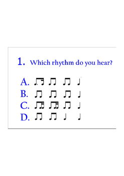 Plickers 4-question quiz- dotted eighth/sixteenth patterns