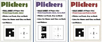 Plickers Pack Samples Half & Full Size, Single Sided or Double Sided