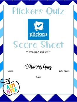 Plickers Quiz Score Sheet