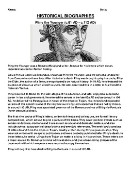 Pliny the Younger Biography Article and (3) Assignments