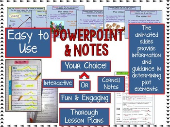 PLOT AND CONFLICT POWERPOINT AND GUIDED NOTES: CORNELL OR FOLDING INTERACTIVE