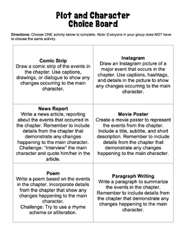 Plot/ Character Choice Board- For ANY Novel