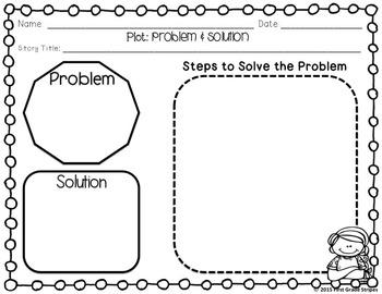 Plot Development: Problem & Solution Graphic Organizers & Flip Book Foldable