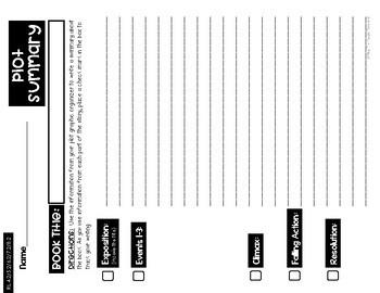 Plot Diagram Graphic Organizer, Summary Planner, Interactive Notebook Foldable