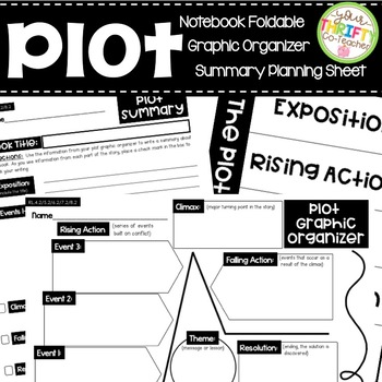 Plot Diagram Graphic Organizer, Summary Planner, Interactive Notebook Foldable