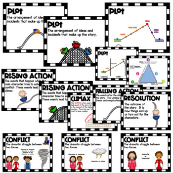 Elements Of Fiction Posters Plot Diagram By Txteach22 Tpt