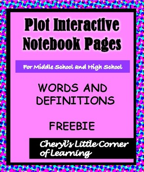 Plot Interactive Notebook Pages Words and Definitions FREEBIE
