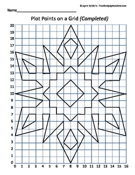 Plot Points on a Grid  Snowflake Coordinates by Jayne Robbins  TpT