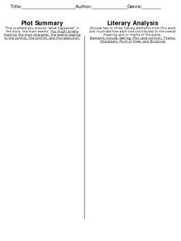 Plot Summary vs Literary Analysis - Graphic Organizer