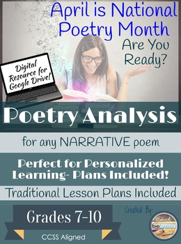 Poetry Analysis for any Narrative Poem Digital or Printable Unit