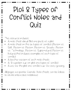 Plot and Types of Conflict Notes and Quiz