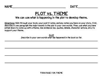 Plot vs. Theme (Differentiated - 3 Worksheets for 3 Levels)