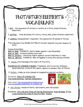 Plot/Story Elements Vocabulary Resource and 2 Tests: Printables (NO PREP)