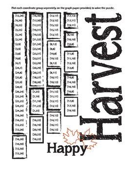 Plotting Coordinate Graphs -  Harvest, Thanksgiving or Halloween - CCSS & TEK
