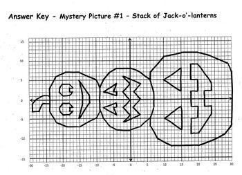 Plotting Coordinates - Stack of Jack-o'-Lanterns, Owl, Spider, and Wishbone