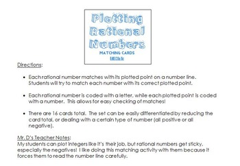 Plotting Rational Numbers- Matching Cards