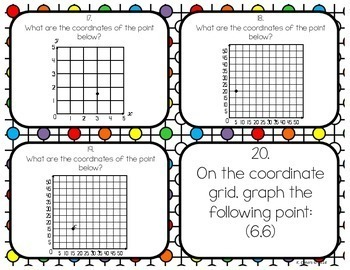 Plotting on a Coordinate Plane in Quadrant One Task Cards