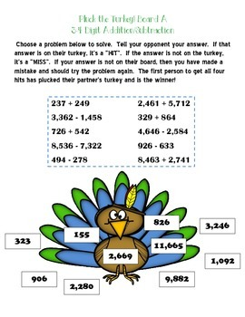 Pluck the Turkey! Multi-Digit Addition and Subtraction Game