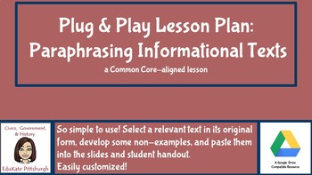 Plug & Play: Paraphrasing Informational Texts for Research Projects
