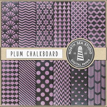 Plum Chalkboard Paper, Digital Chalk Backgrounds {Pretty Graphics}