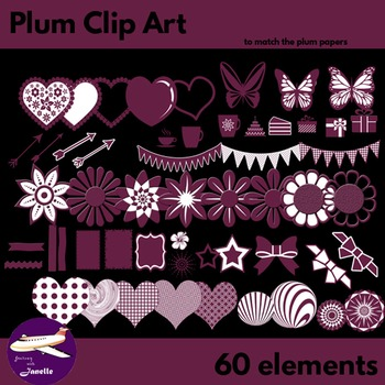 Plum Clip Art Decoration Scrapbooking Elements - 60 items