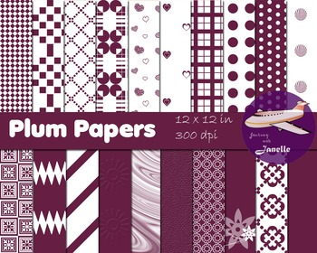 Plum Digital Papers for Backgrounds, Scrapbooking and Classroom Decorations