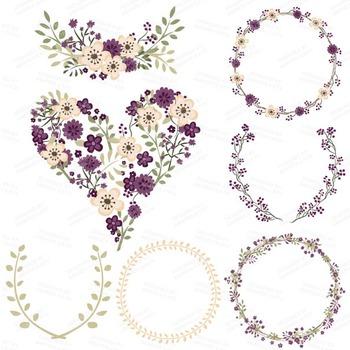 Plum Floral Heart Clipart