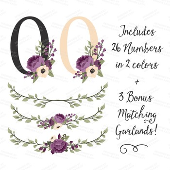 Plum Floral Numbers With Vectors - Flower Clip Art, Peonies Clipart, Poppies