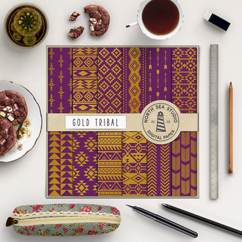 Plum & Gold Tribal Digital Paper Pack