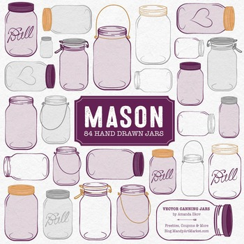Plum Mason Jars Clipart & Vectors - Ball Jar Clipart